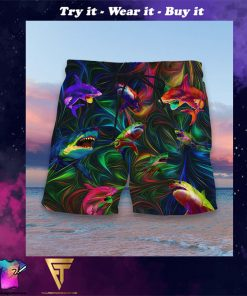 colorful shark full printing hawaiian shorts