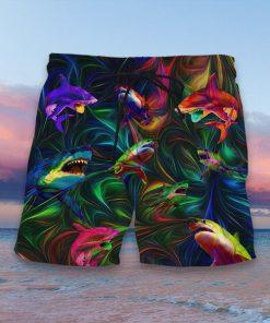 colorful shark full printing hawaiian shorts 3
