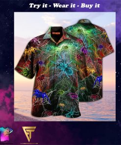 colorful spiderweb full printing hawaiian shirt