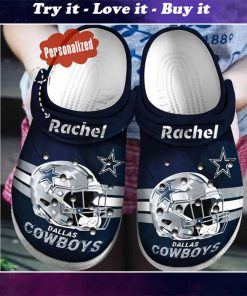 custom name dallas cowboys helmet crocs