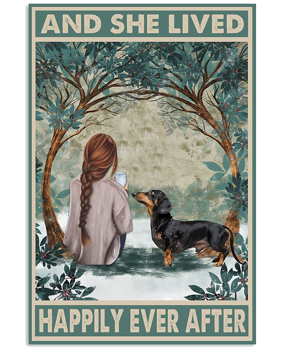 dachshund and she lived happily ever after retro poster 1