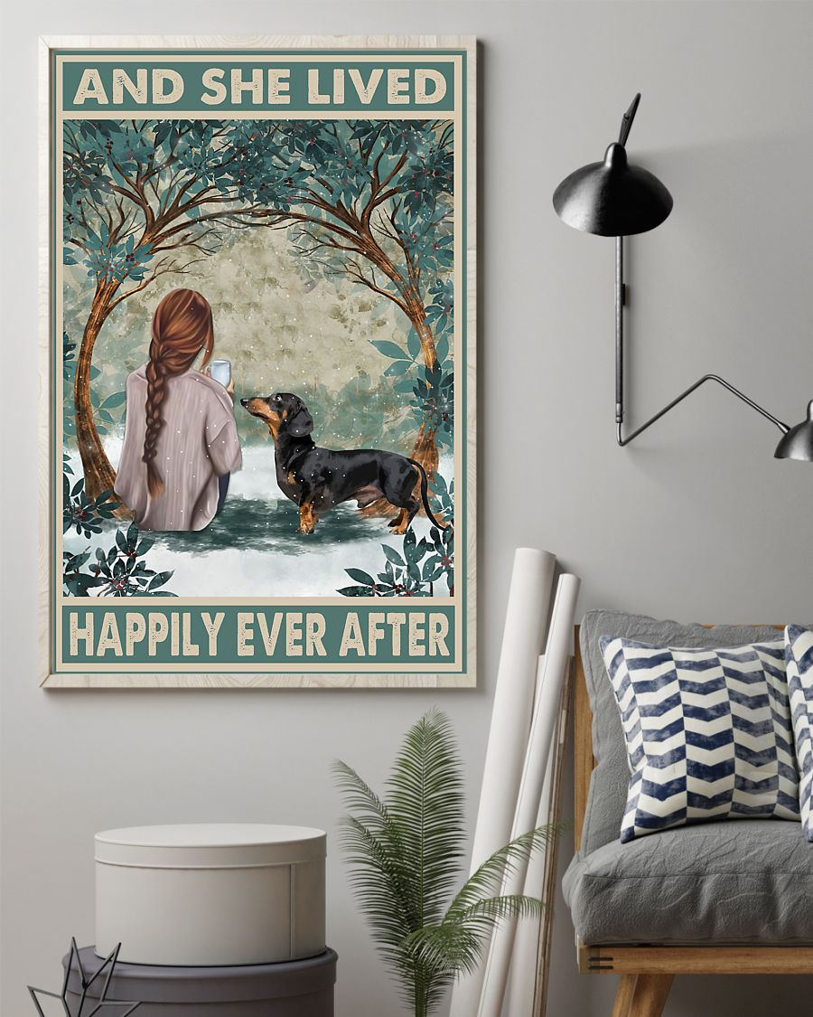 dachshund and she lived happily ever after retro poster 2