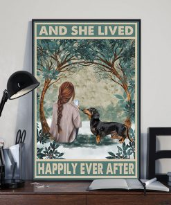 dachshund and she lived happily ever after retro poster 3