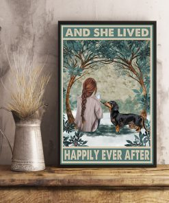 dachshund and she lived happily ever after retro poster 4