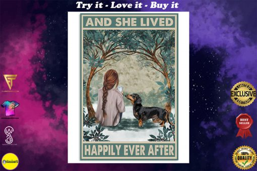 dachshund and she lived happily ever after retro poster