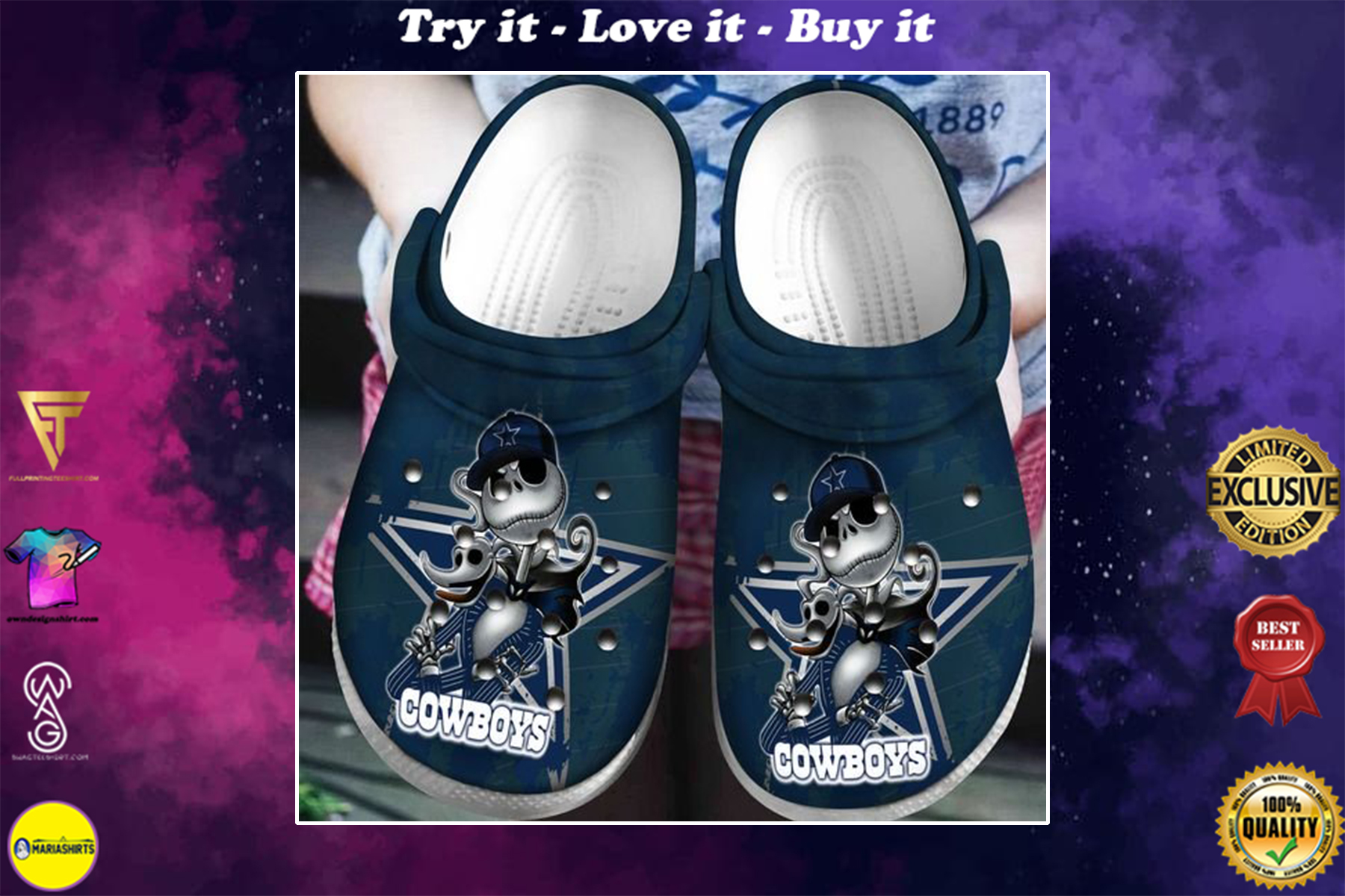 dallas cowboys jack skellington crocs - Copy