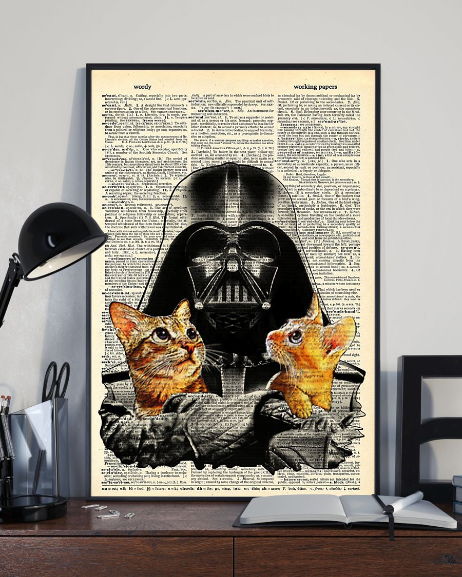 High quality darth vader and black cat retro poster