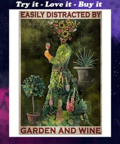 easily distracted by garden and wine retro poster