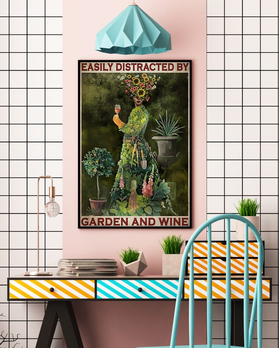easily distracted by garden and wine retro poster 4