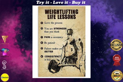 fitness weightlifting life lessons love the process poster