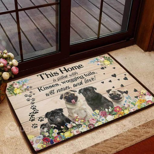 floral pug this home is filled with kisses wagging tails doormat 1