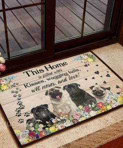 floral pug this home is filled with kisses wagging tails doormat 1 - Copy
