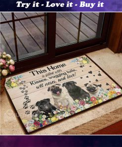 floral pug this home is filled with kisses wagging tails doormat