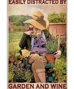 garden girl easily distracted by garden and wine retro poster 1