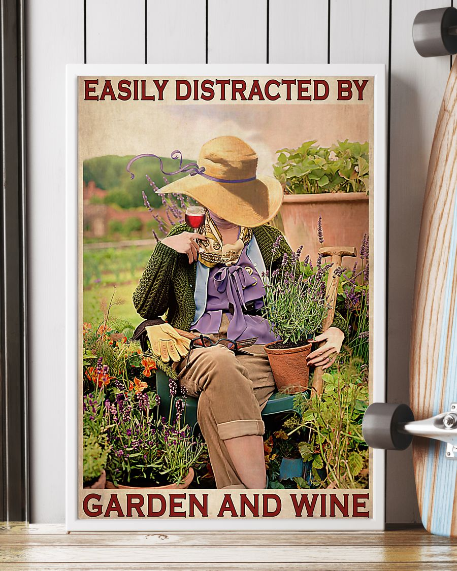garden girl easily distracted by garden and wine retro poster 2