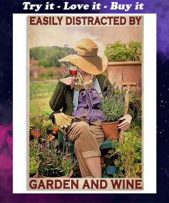 garden girl easily distracted by garden and wine retro poster