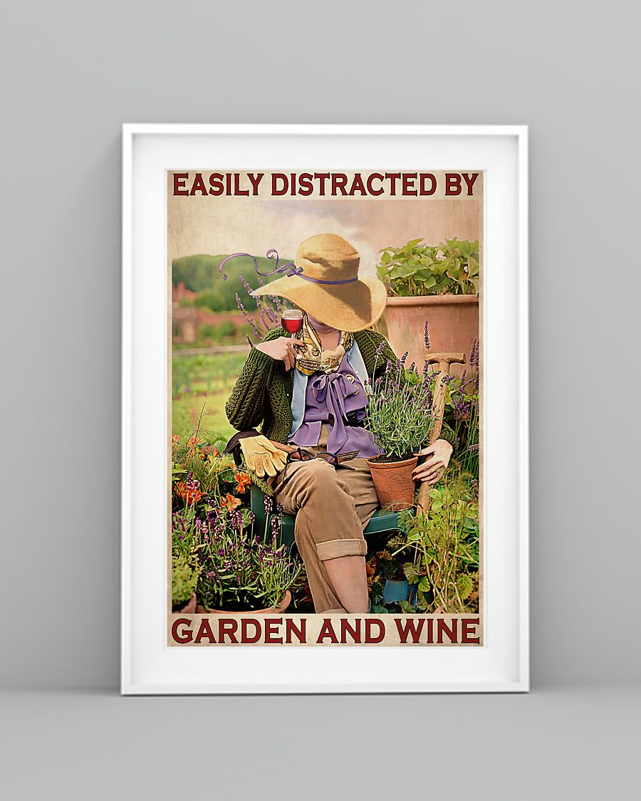 garden girl easily distracted by garden and wine retro poster 3