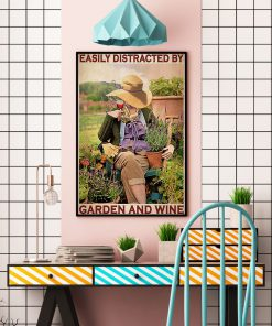 garden girl easily distracted by garden and wine retro poster 4