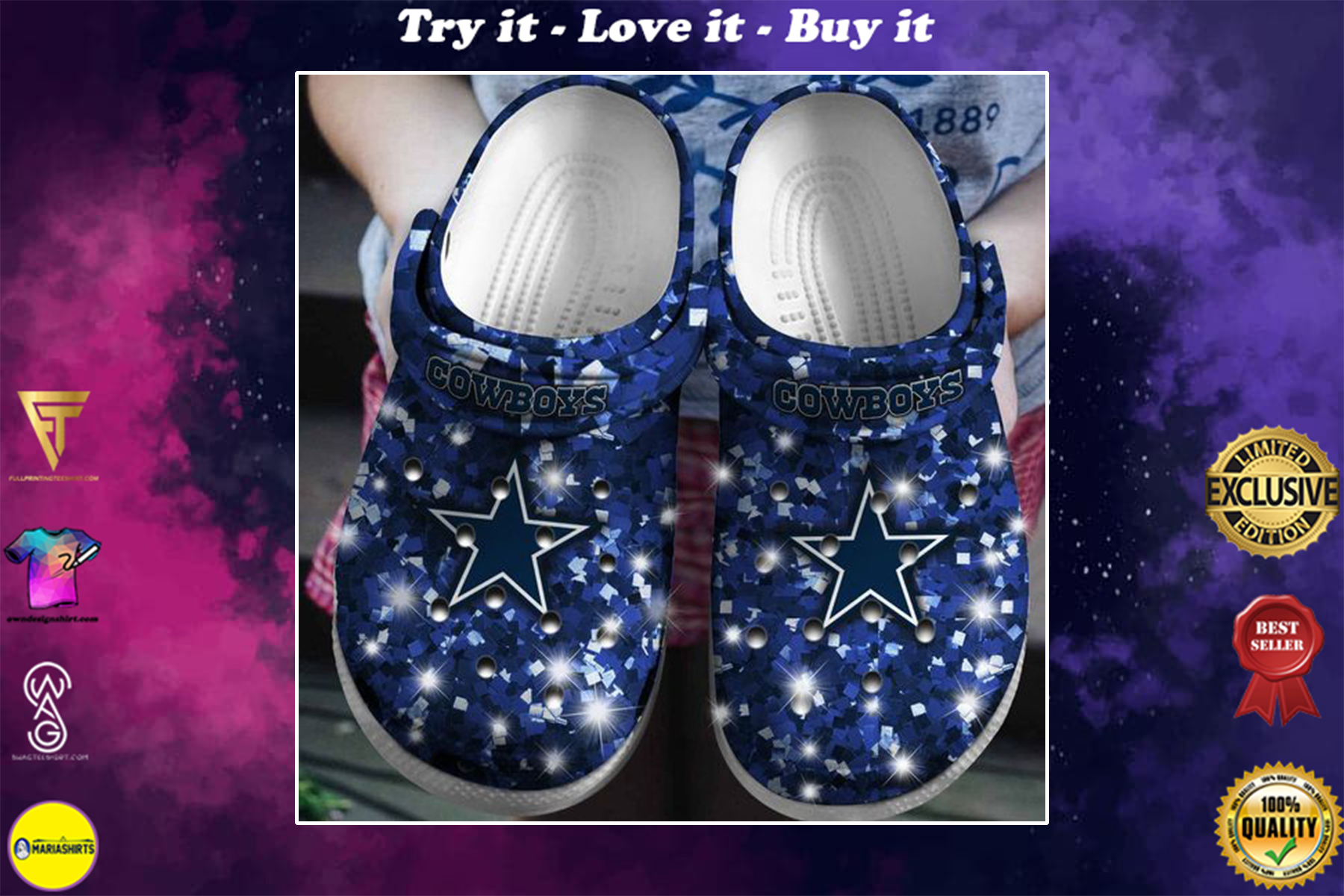 glitter dallas cowboys football team crocs - Copy