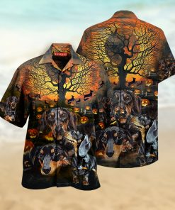 halloween dachshund full printing hawaiian shirt 1 - Copy