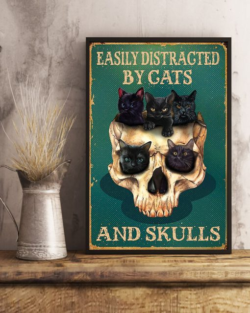 halloween easily distracted by cats and skulls retro poster 3