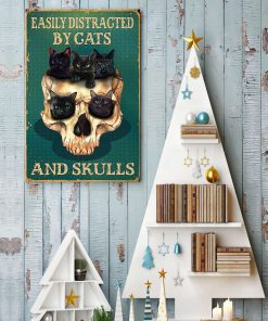 halloween easily distracted by cats and skulls retro poster 4