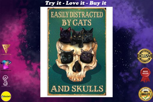 halloween easily distracted by cats and skulls retro poster