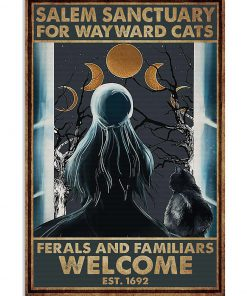 halloween girl and black cat salem sanctuary for wayward cats ferals and familiars welcome retro poster 1