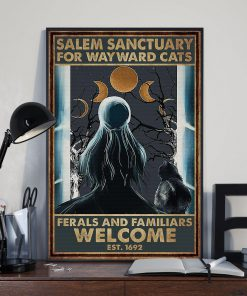 halloween girl and black cat salem sanctuary for wayward cats ferals and familiars welcome retro poster 2