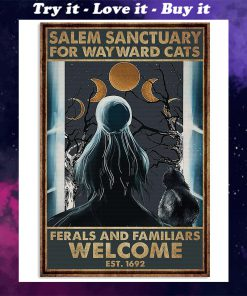 halloween girl and black cat salem sanctuary for wayward cats ferals and familiars welcome retro poster