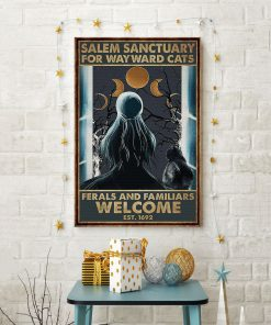 halloween girl and black cat salem sanctuary for wayward cats ferals and familiars welcome retro poster 4