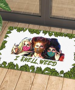 halloween hocus pocus with mask i smell weed doormat 1