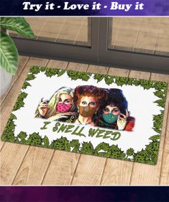 halloween hocus pocus with mask i smell weed doormat