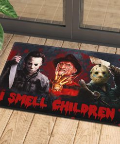 halloween horror killers i cant smell children doormat 1