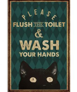 halloween please flush the toilet and wash your hands retro poster 1