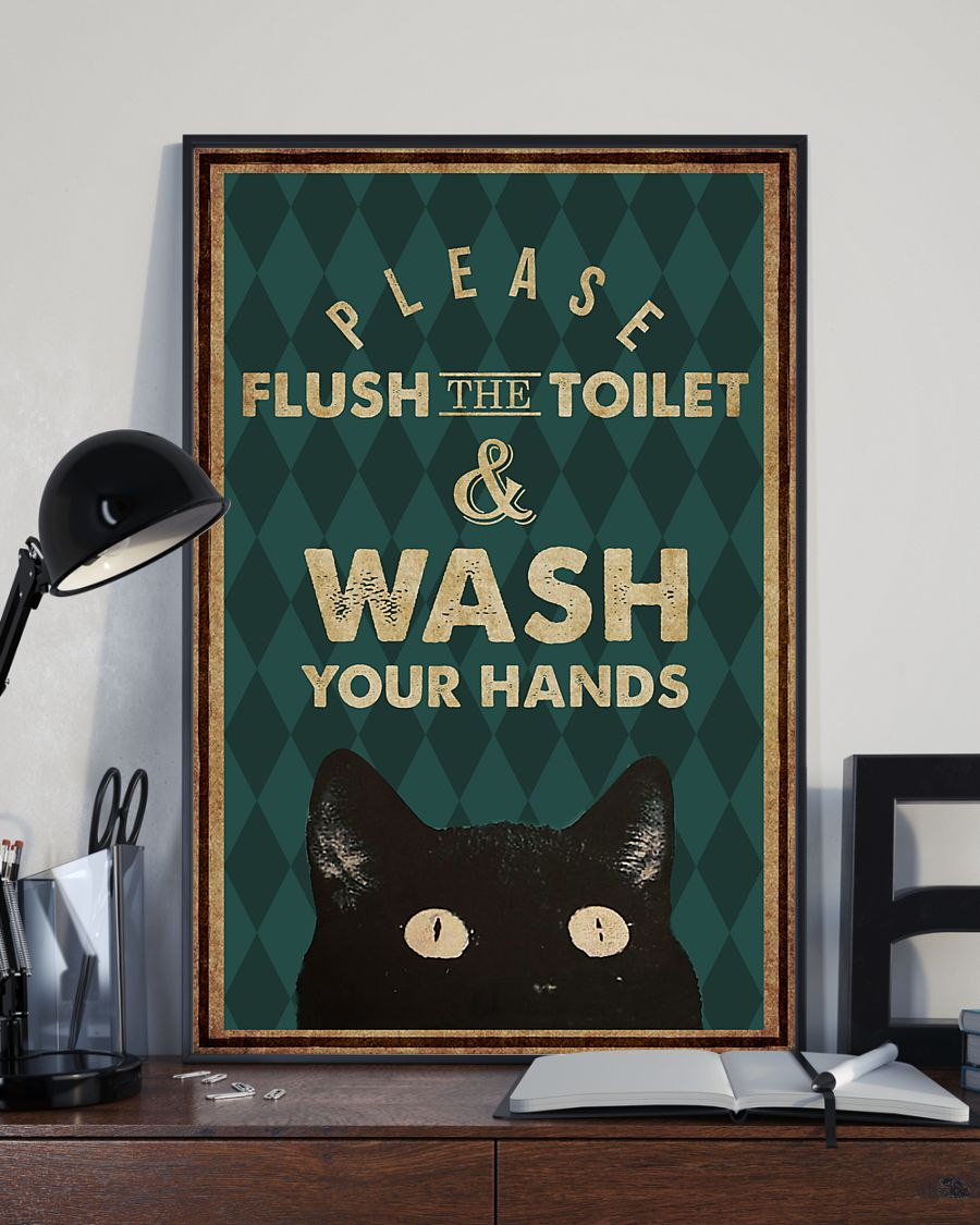 halloween please flush the toilet and wash your hands retro poster 2