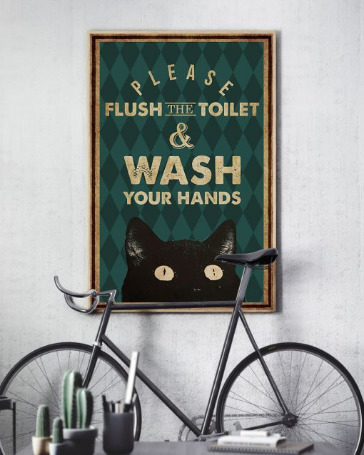 halloween please flush the toilet and wash your hands retro poster 3