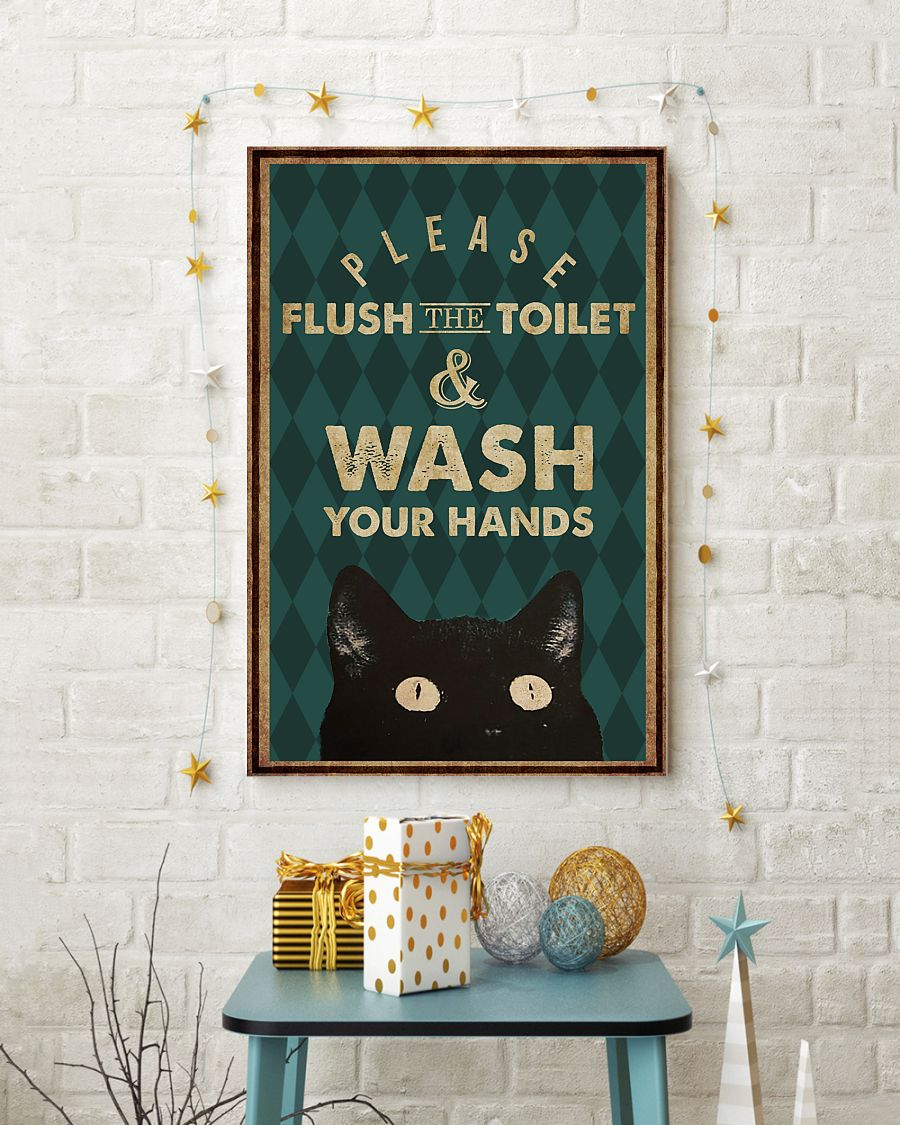 halloween please flush the toilet and wash your hands retro poster 4
