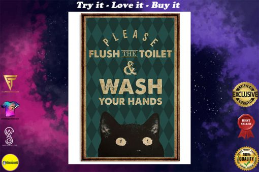 halloween please flush the toilet and wash your hands retro poster