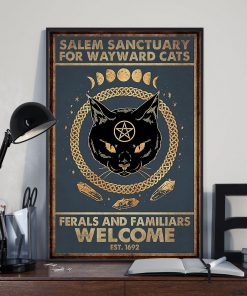 halloween salem sanctuary for wayward cats ferals and familiars welcome black cat retro poster 2