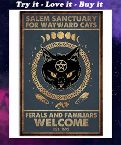 halloween salem sanctuary for wayward cats ferals and familiars welcome black cat retro poster