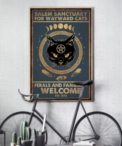 halloween salem sanctuary for wayward cats ferals and familiars welcome black cat retro poster 3
