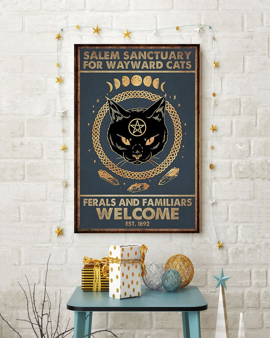 halloween salem sanctuary for wayward cats ferals and familiars welcome black cat retro poster 4