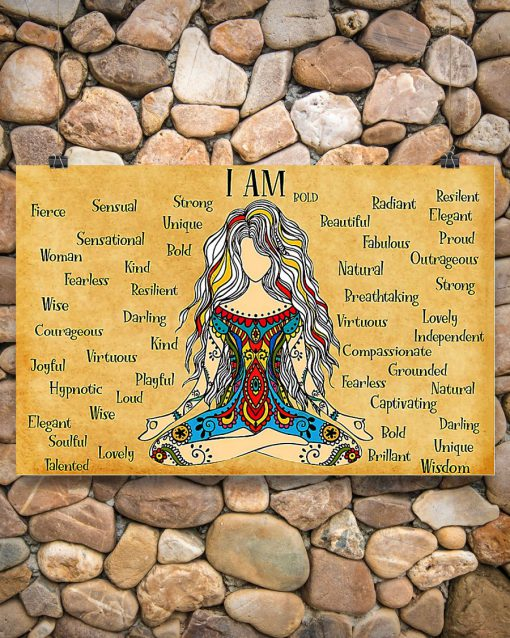 hippie girl yoga i am kind lovely strong proud unique poster 2