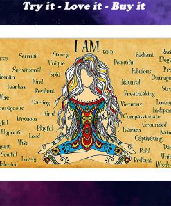 hippie girl yoga i am kind lovely strong proud unique poster