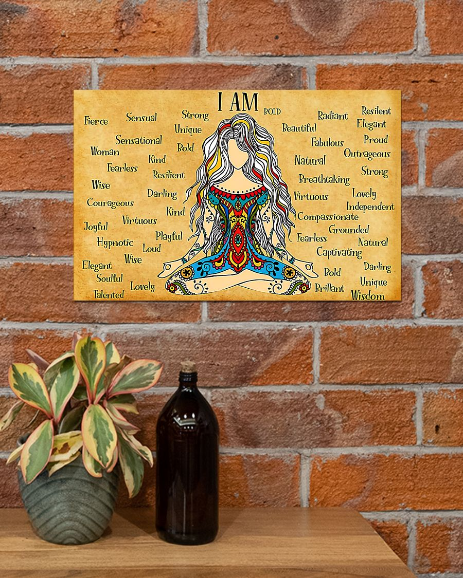 hippie girl yoga i am kind lovely strong proud unique poster 4
