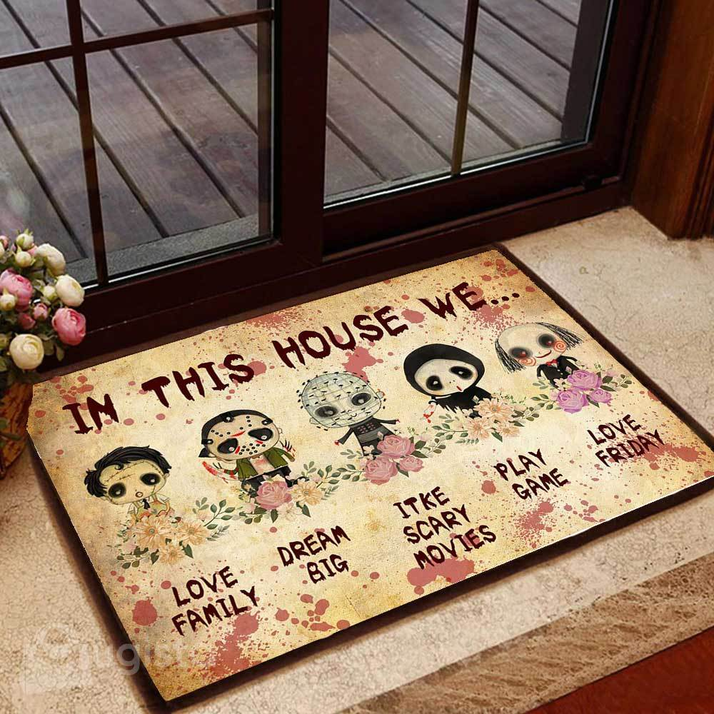 horror killers chibi in this house we love family doormat 1 - Copy (3)