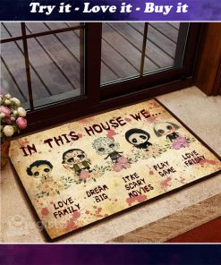 horror killers chibi in this house we love family doormat