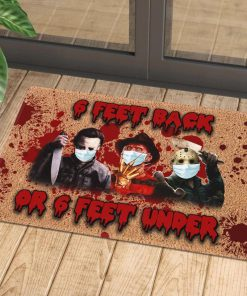 horror killers with mask 6 feet back or 6 feet under doormat 1