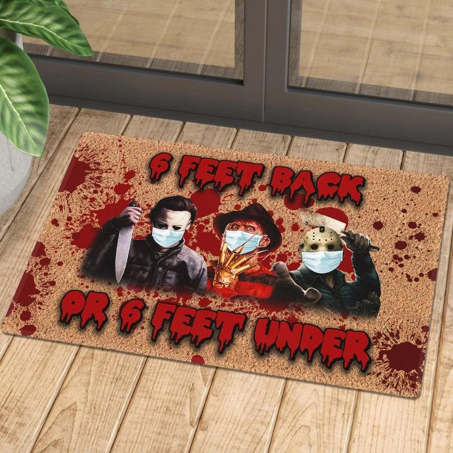 horror killers with mask 6 feet back or 6 feet under doormat 1 - Copy